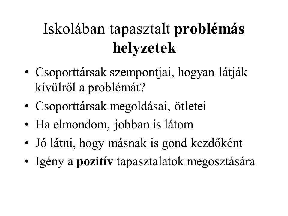 Iskolában tapasztalt problémás helyzetek