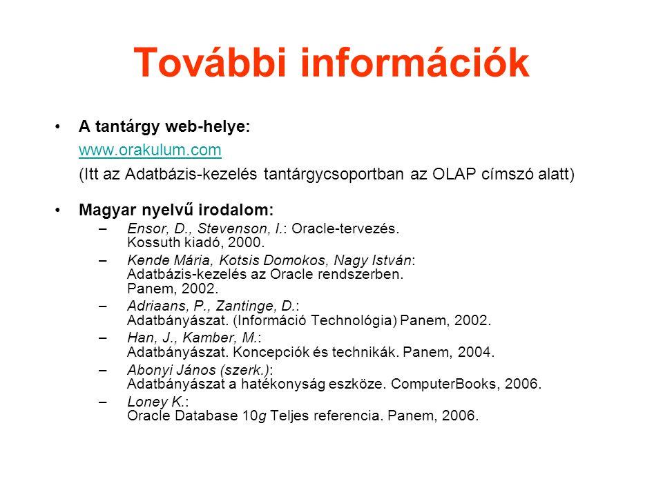 További információk A tantárgy web-helye: www.orakulum.com (Itt az Adatbázis-kezelés tantárgycsoportban az OLAP címszó alatt)