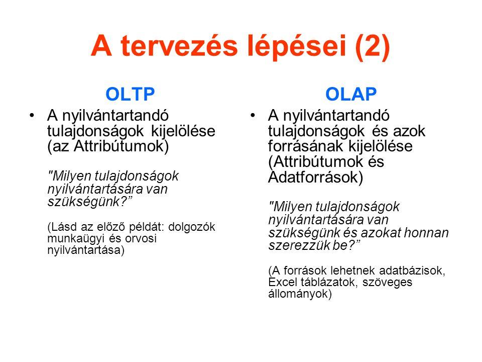 A tervezés lépései (2) OLTP OLAP