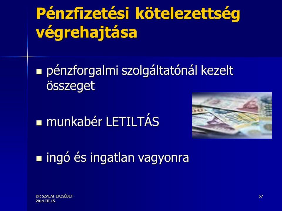 Pénzfizetési kötelezettség végrehajtása