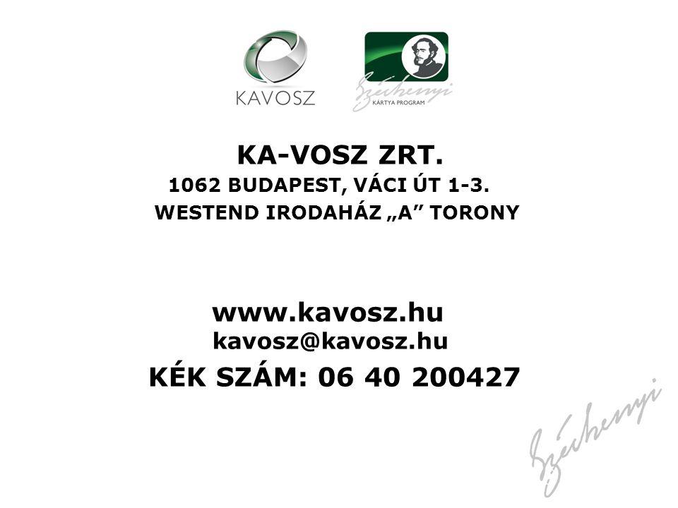 KA-VOSZ ZRT. KÉK SZÁM: 06 40 200427 www.kavosz.hu kavosz@kavosz.hu