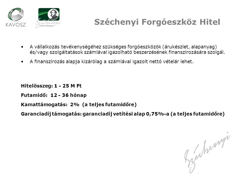 Széchenyi Forgóeszköz Hitel
