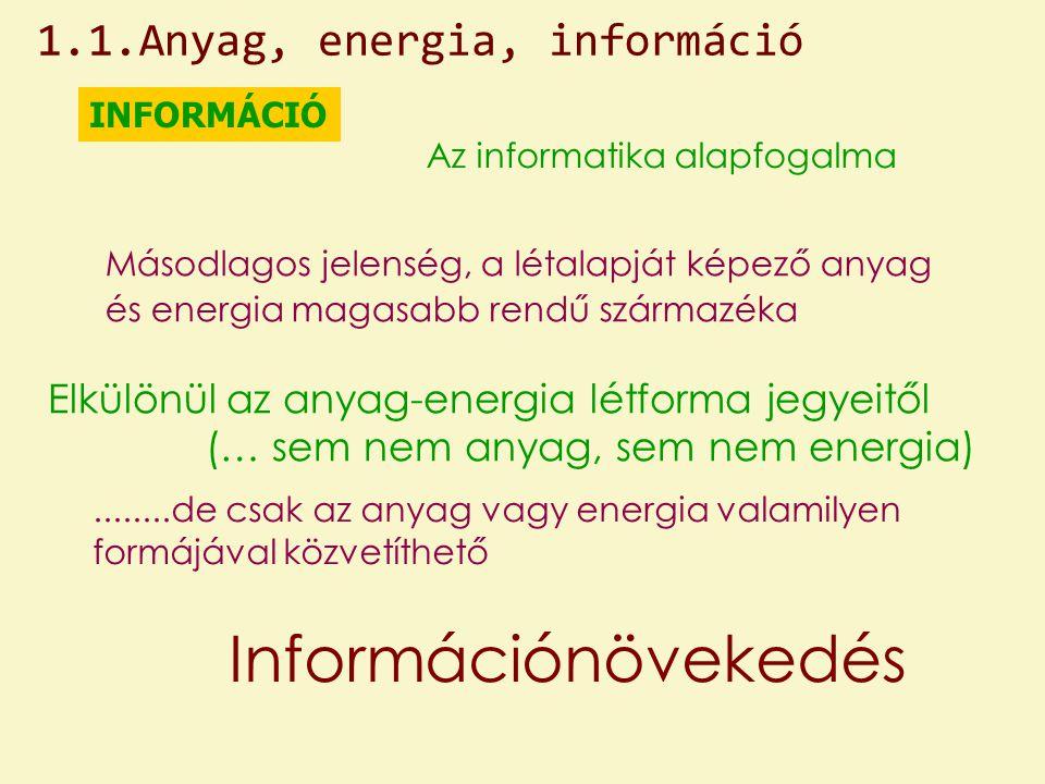 Információnövekedés 1.1.Anyag, energia, információ
