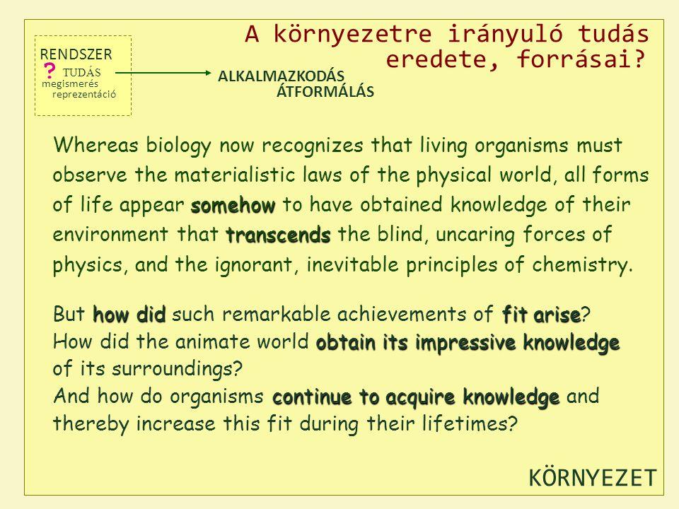 A környezetre irányuló tudás eredete, forrásai