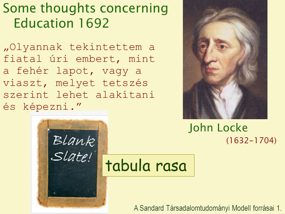 tabula rasa Some thoughts concerning Education 1692