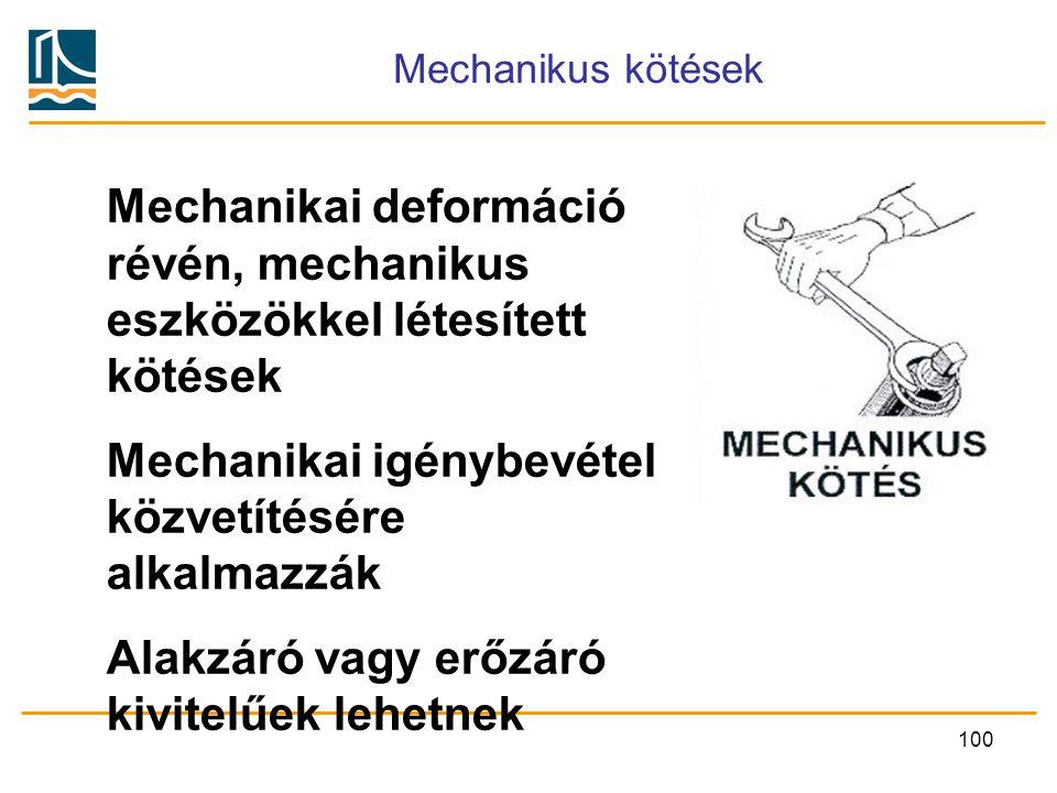 Mechanikai deformáció révén, mechanikus eszközökkel létesített kötések