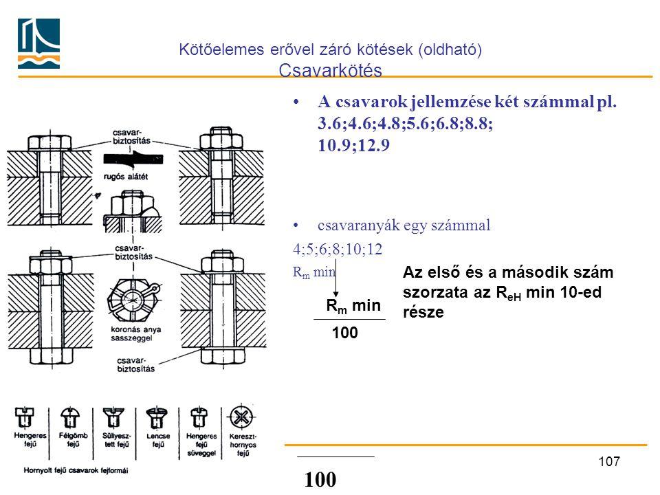 Kötőelemes erővel záró kötések (oldható) Csavarkötés