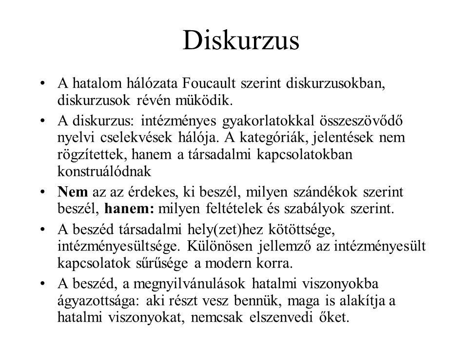 Diskurzus A hatalom hálózata Foucault szerint diskurzusokban, diskurzusok révén müködik.