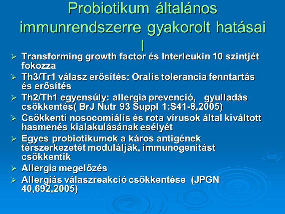Probiotikum általános immunrendszerre gyakorolt hatásai I