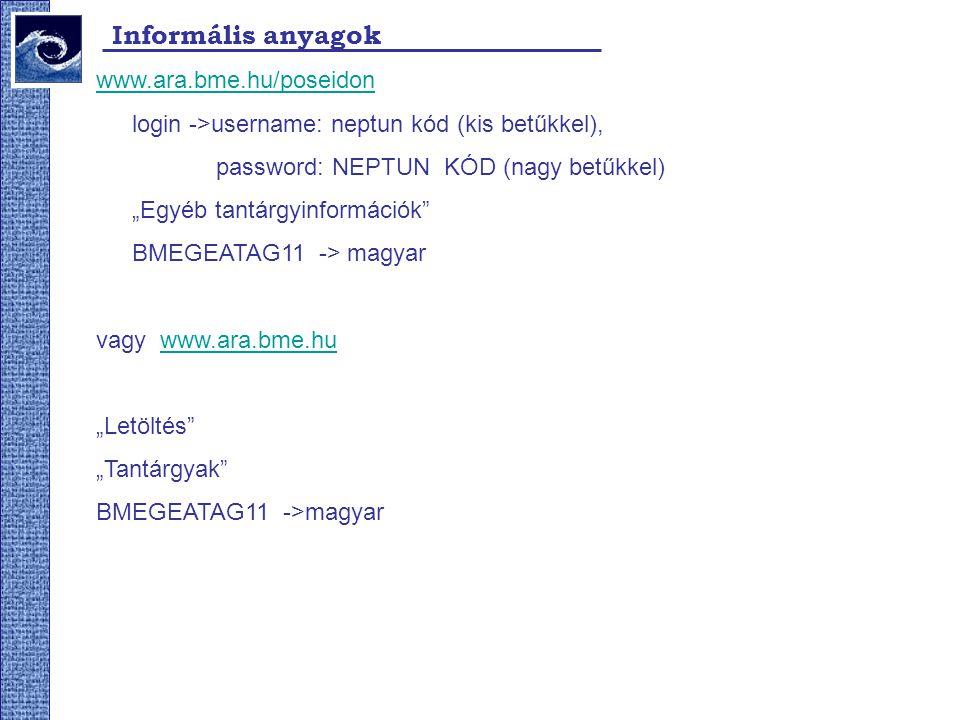 Informális anyagok www.ara.bme.hu/poseidon