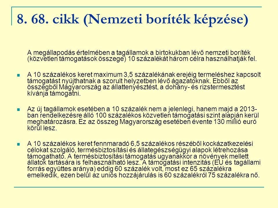 8. 68. cikk (Nemzeti boríték képzése)