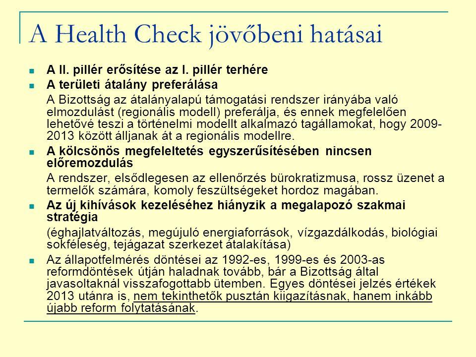 A Health Check jövőbeni hatásai