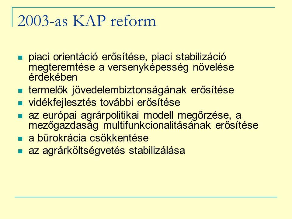 2003-as KAP reform piaci orientáció erősítése, piaci stabilizáció megteremtése a versenyképesség növelése érdekében.