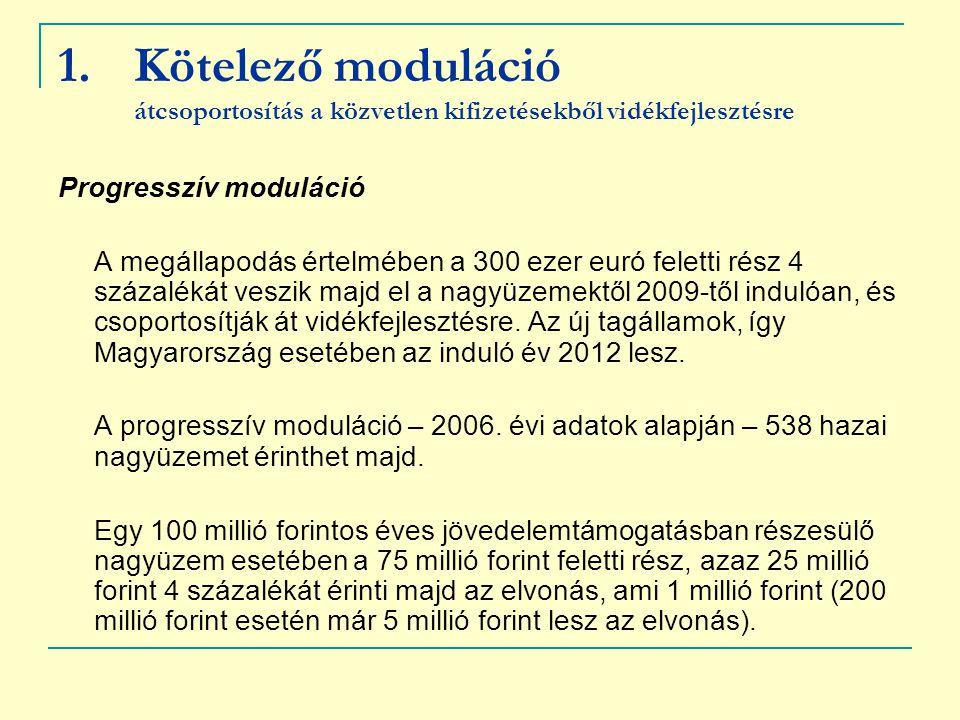 Kötelező moduláció átcsoportosítás a közvetlen kifizetésekből vidékfejlesztésre