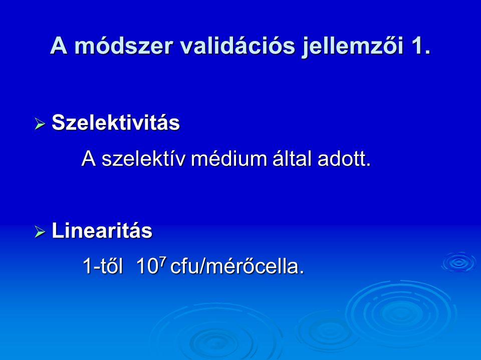A módszer validációs jellemzői 1.