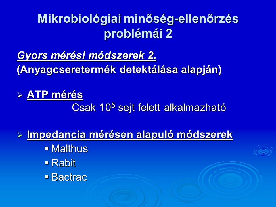 Mikrobiológiai minőség-ellenőrzés problémái 2