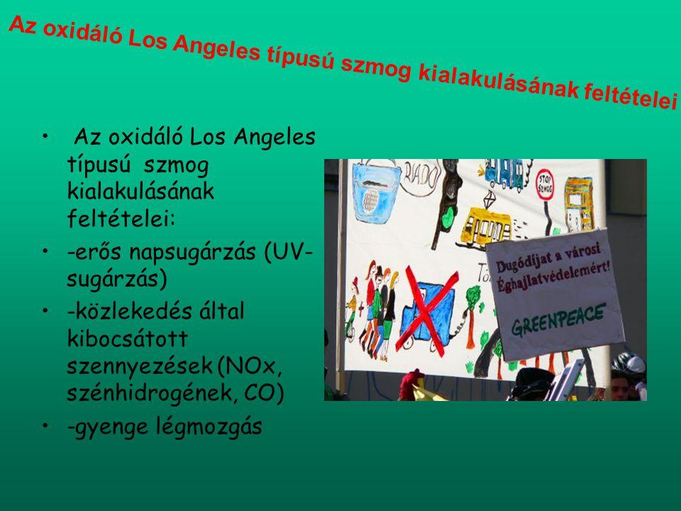 Az oxidáló Los Angeles típusú szmog kialakulásának feltételei