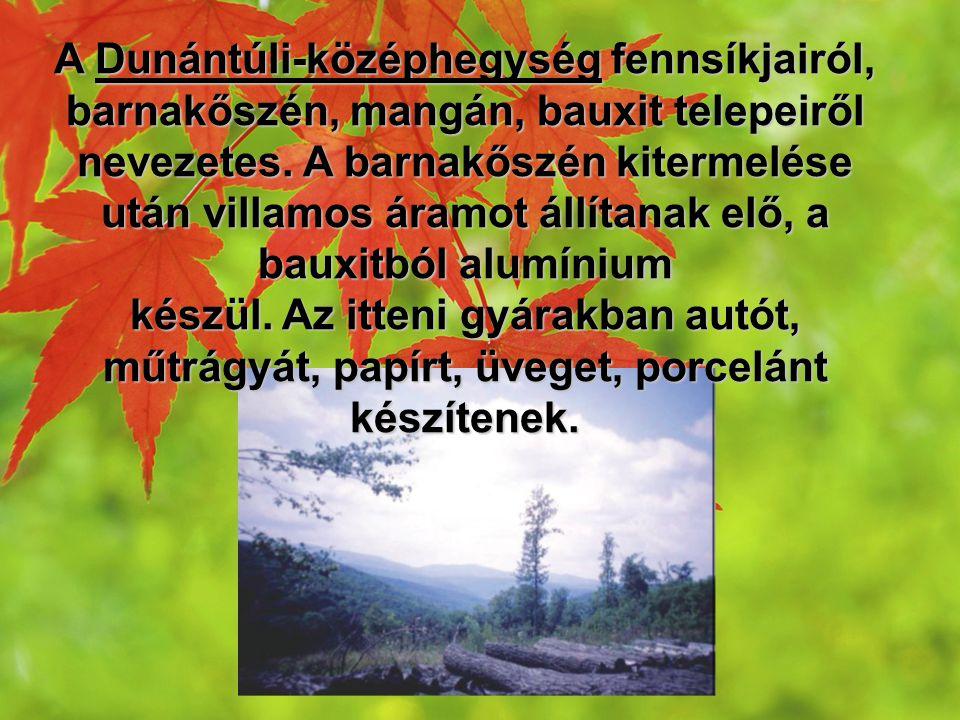 A Dunántúli-középhegység fennsíkjairól, barnakőszén, mangán, bauxit telepeiről