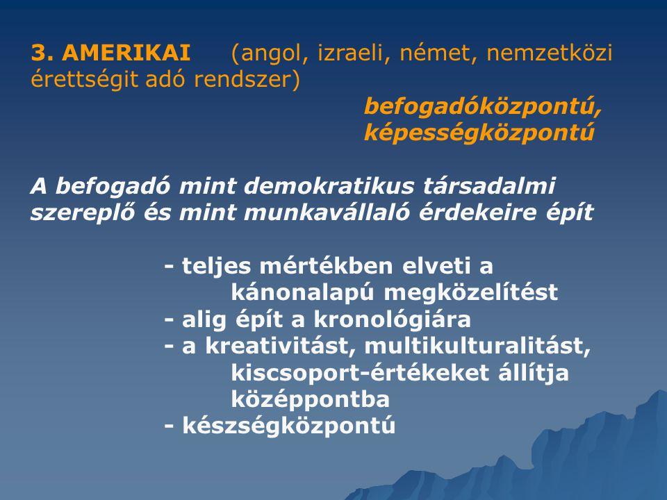 3. AMERIKAI (angol, izraeli, német, nemzetközi érettségit adó rendszer) befogadóközpontú,