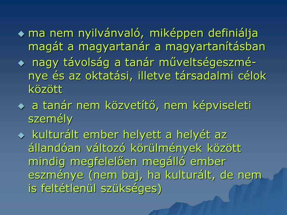 ma nem nyilvánvaló, miképpen definiálja magát a magyartanár a magyartanításban