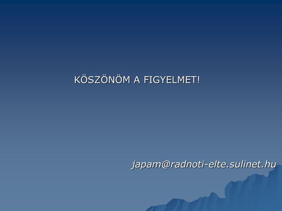 KÖSZÖNÖM A FIGYELMET! japam@radnoti-elte.sulinet.hu