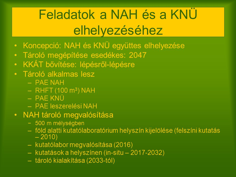 Feladatok a NAH és a KNÜ elhelyezéséhez
