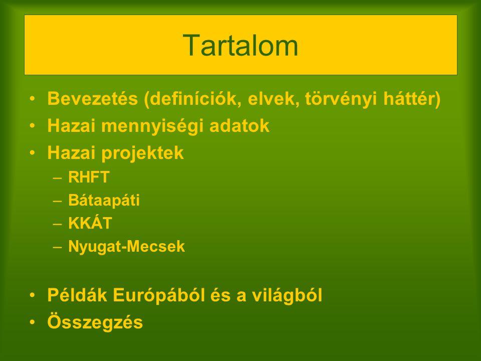 Tartalom Bevezetés (definíciók, elvek, törvényi háttér)