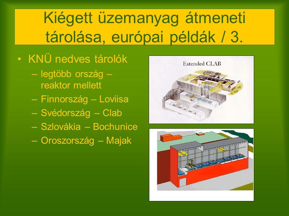 Kiégett üzemanyag átmeneti tárolása, európai példák / 3.