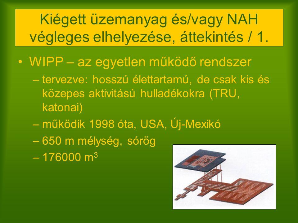Kiégett üzemanyag és/vagy NAH végleges elhelyezése, áttekintés / 1.