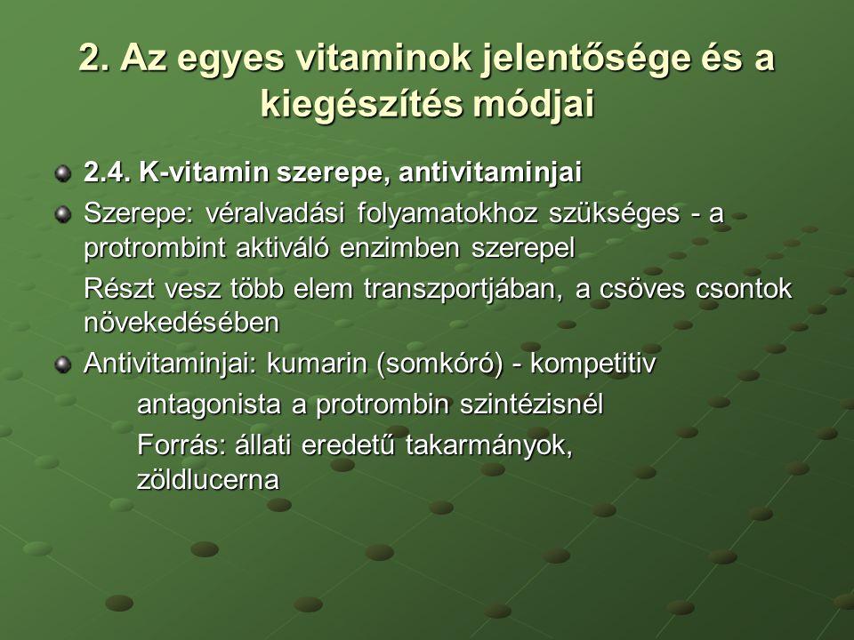 2. Az egyes vitaminok jelentősége és a kiegészítés módjai