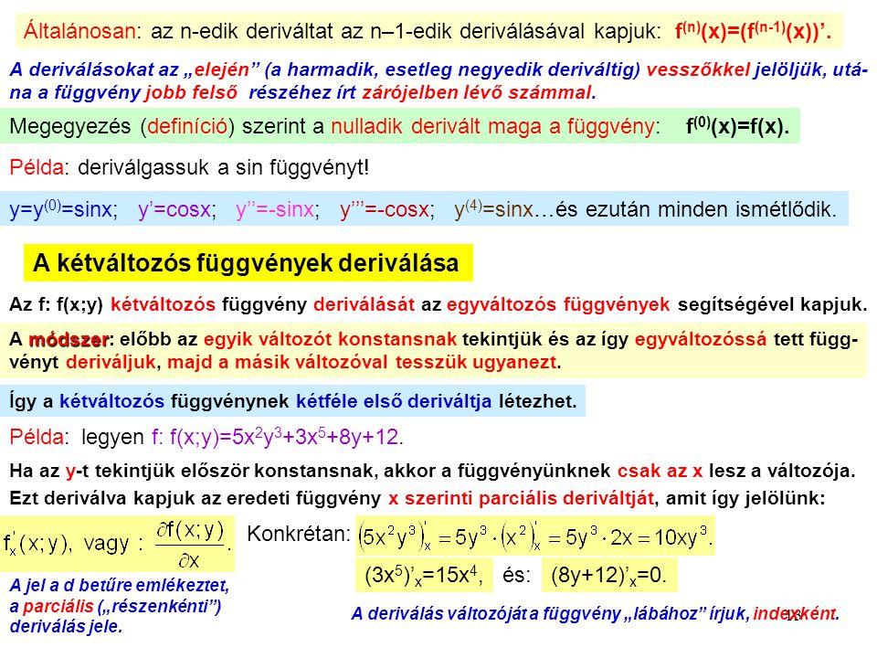 A kétváltozós függvények deriválása