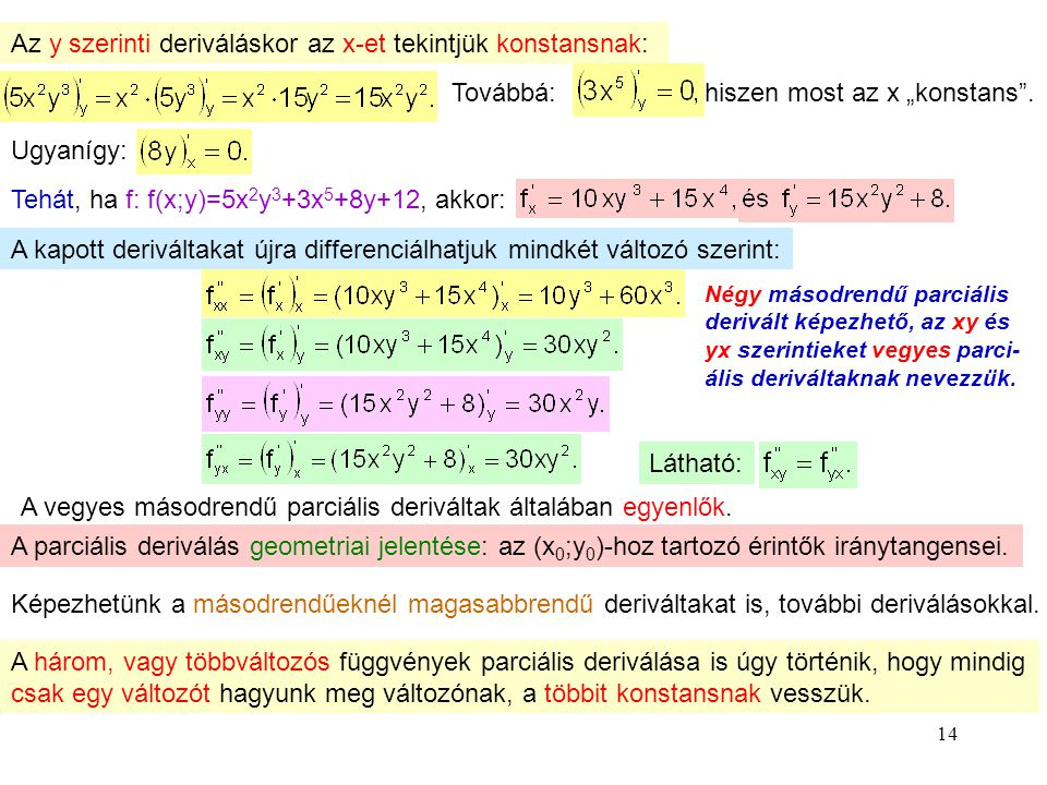 Az y szerinti deriváláskor az x-et tekintjük konstansnak: