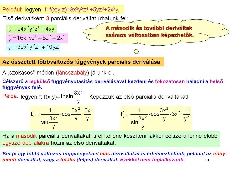 Például: legyen f: f(x;y;z)=8x3y2z4 +5yz2+2x2y.
