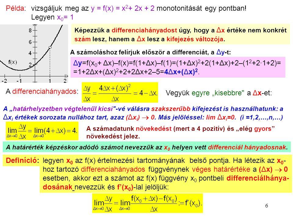 vizsgáljuk meg az y = f(x) = x2+ 2x + 2 monotonitását egy pontban!