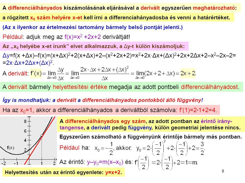 Például: adjuk meg az f(x)=x2 +2x+2 deriváltját!