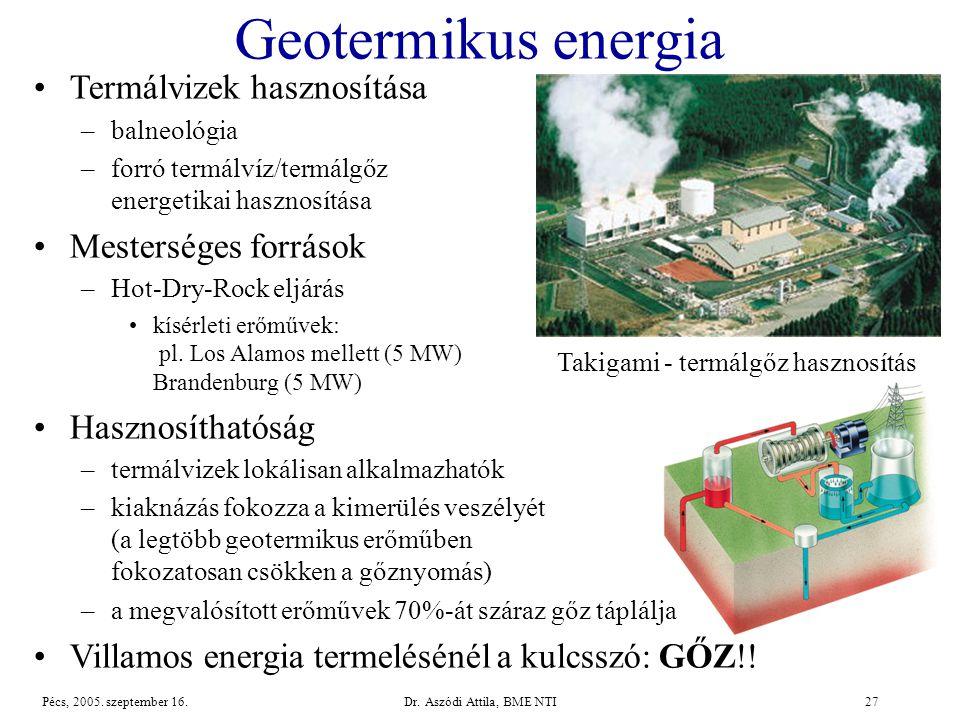 Geotermikus energia Termálvizek hasznosítása Mesterséges források