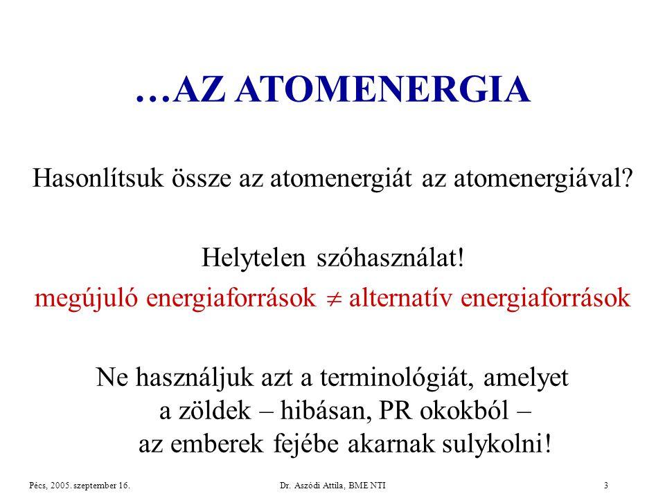…AZ ATOMENERGIA Hasonlítsuk össze az atomenergiát az atomenergiával