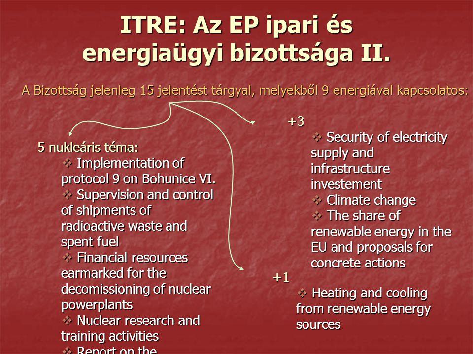 ITRE: Az EP ipari és energiaügyi bizottsága II.