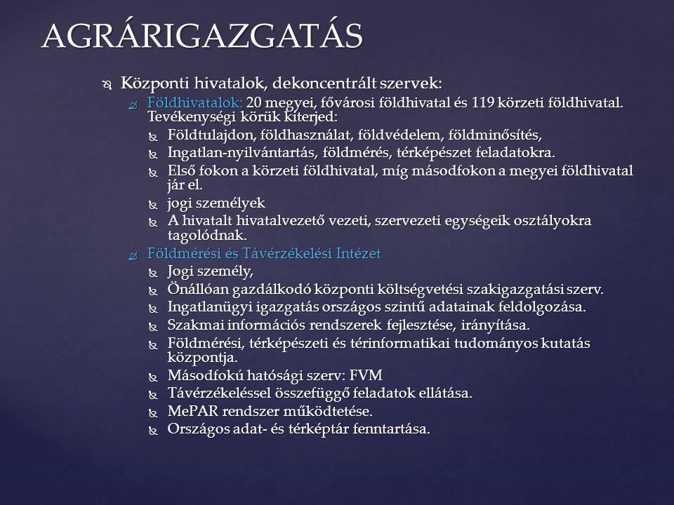 AGRÁRIGAZGATÁS Központi hivatalok, dekoncentrált szervek: