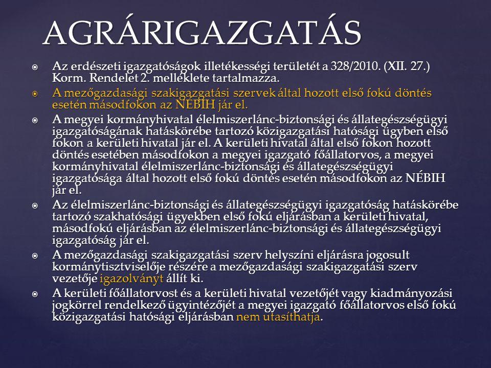 AGRÁRIGAZGATÁS Az erdészeti igazgatóságok illetékességi területét a 328/2010. (XII. 27.) Korm. Rendelet 2. melléklete tartalmazza.