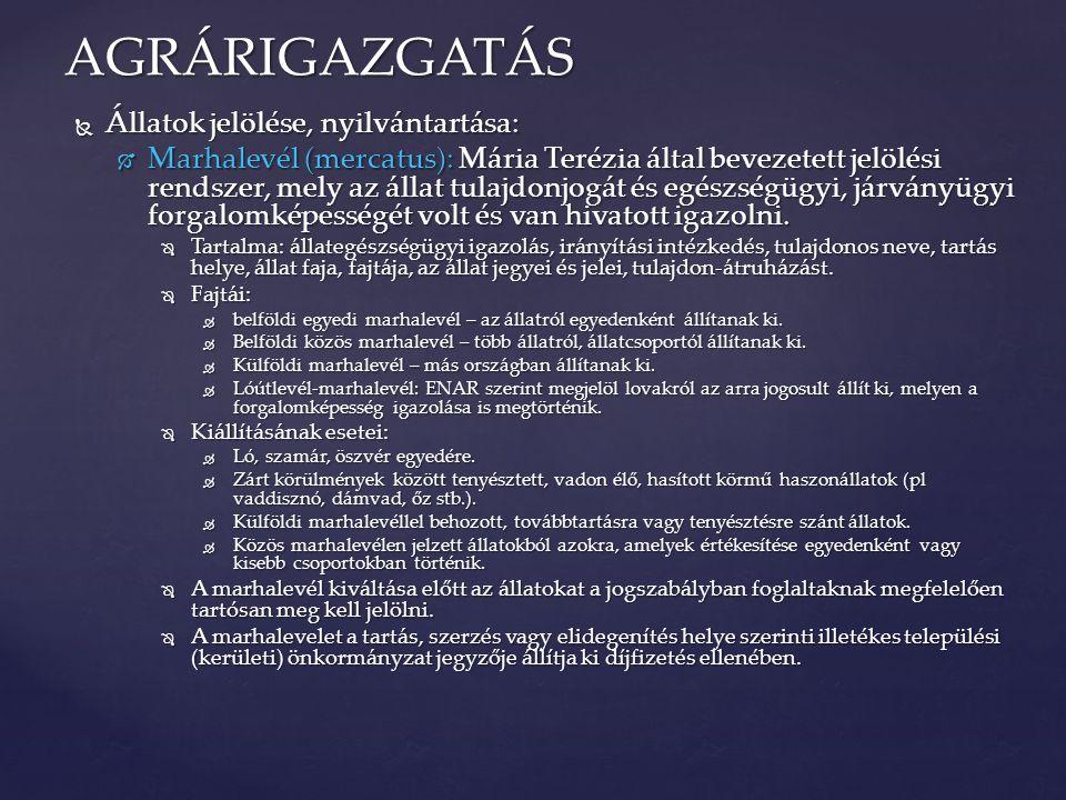 AGRÁRIGAZGATÁS Állatok jelölése, nyilvántartása:
