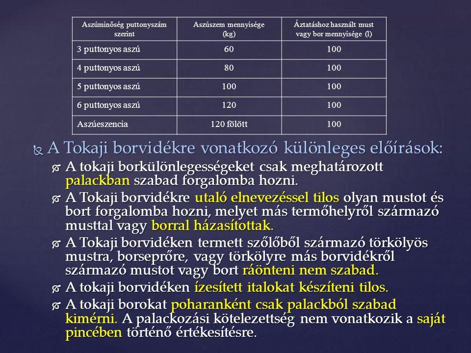 A Tokaji borvidékre vonatkozó különleges előírások: