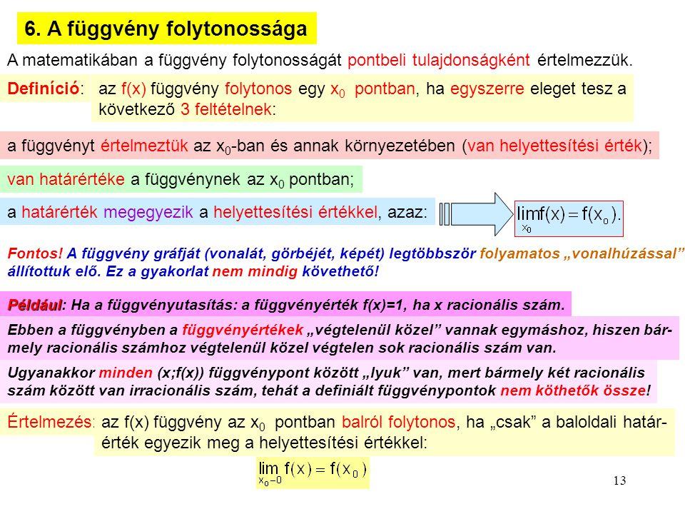 6. A függvény folytonossága