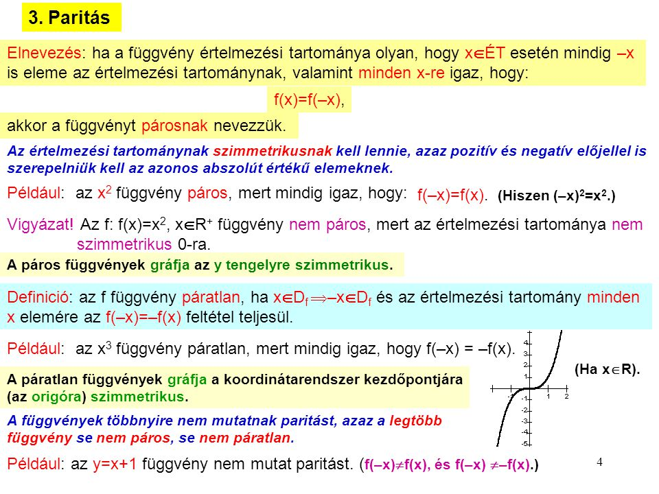 3. Paritás Elnevezés: ha a függvény értelmezési tartománya olyan, hogy xÉT esetén mindig –x.
