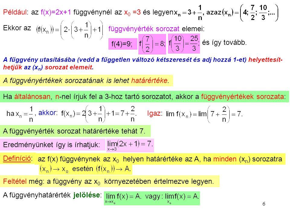 Például: az f(x)=2x+1 függvénynél az x0 =3 és legyen: