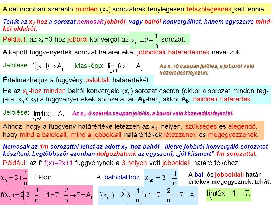 Például: az x0=3-hoz jobbról konvergál az sorozat.