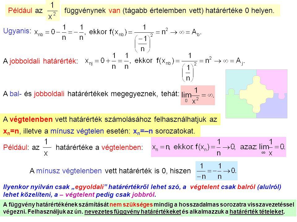 függvénynek van (tágabb értelemben vett) határértéke 0 helyen.