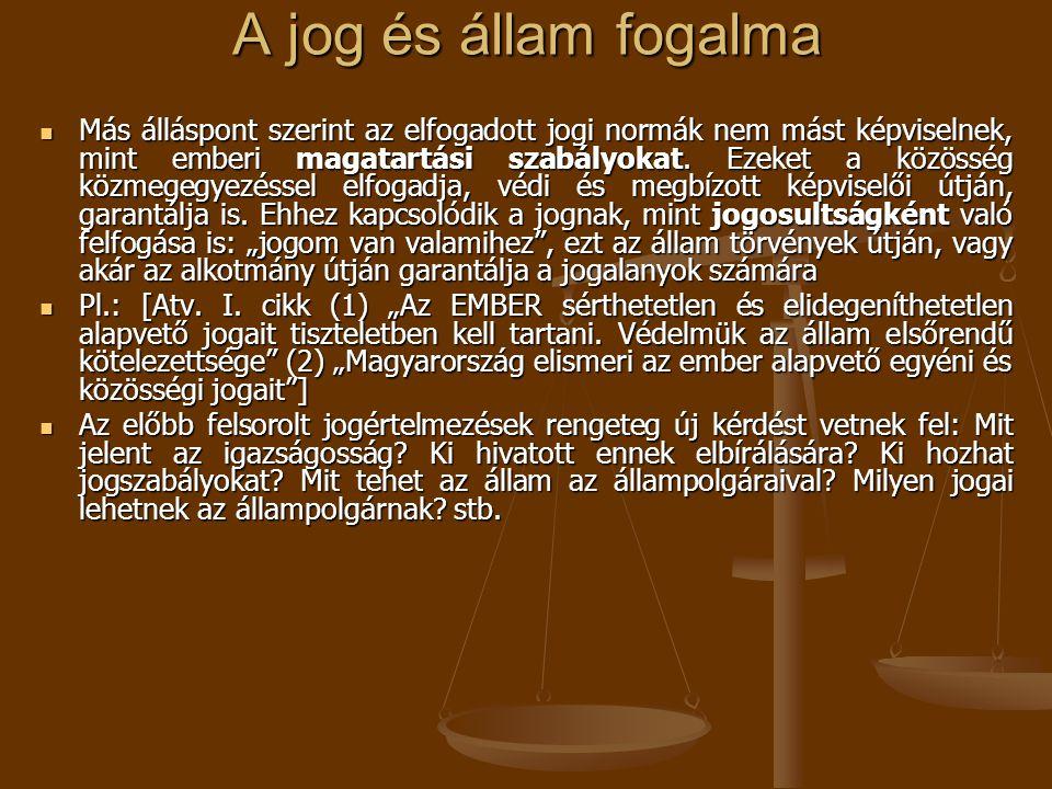 A jog és állam fogalma