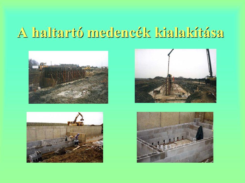 A haltartó medencék kialakítása