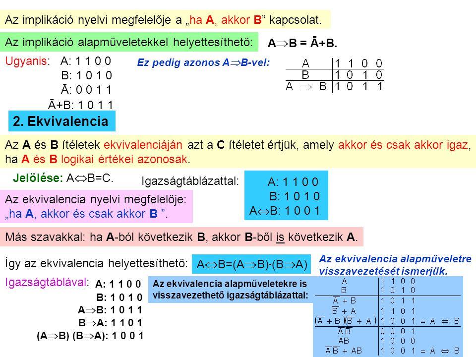 """Az implikáció nyelvi megfelelője a """"ha A, akkor B kapcsolat."""